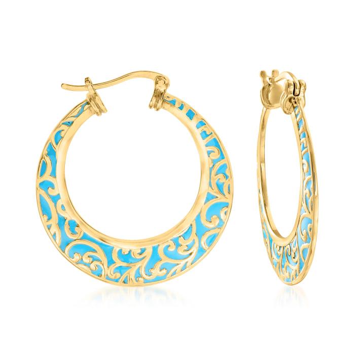 18kt Gold Over Sterling and Blue Enamel Filigree Hoop Earrings