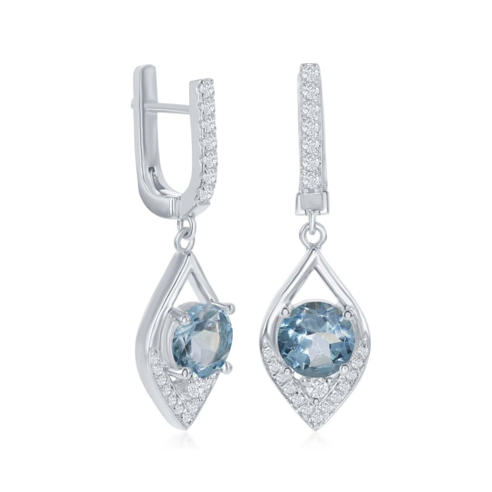 3.59 ct. t.w. Blue and White Topaz Marquise Drop Earrings in Sterling Silver