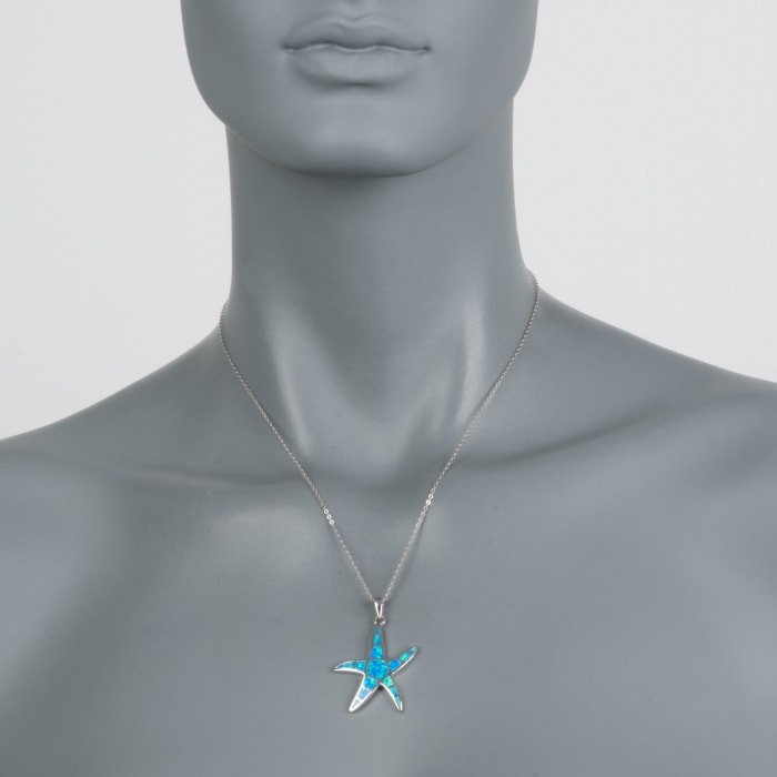 Blue Synthetic Opal Starfish Pendant Necklace in Sterling Silver