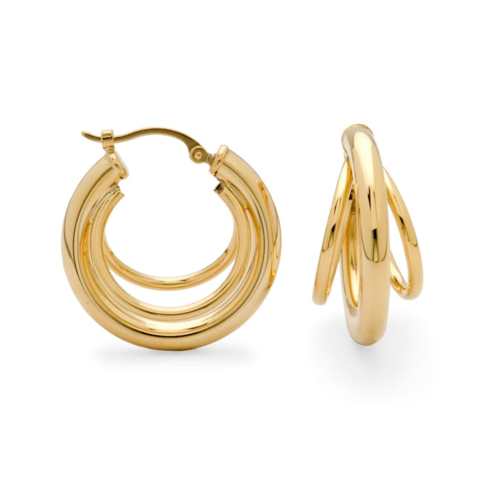 14kt Yellow Gold Three-Ring Hoop Earrings