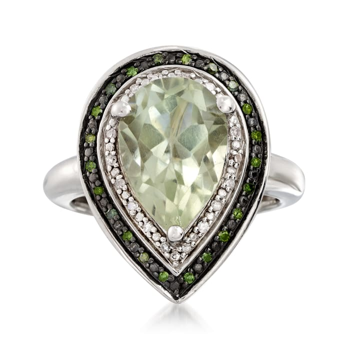 3.60 Carat Prasiolite and .19 ct. t.w. Diamond Ring in Sterling Silver
