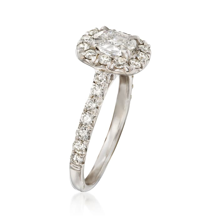 Henri Daussi 1.42 ct. t.w. Diamond Halo Engagement Ring in 18kt White Gold