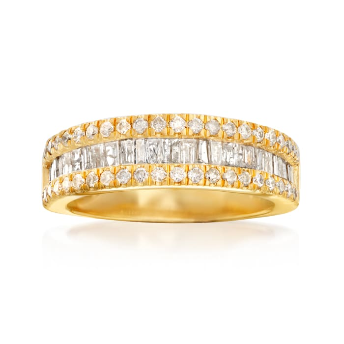 1.00 ct. t.w. Baguette and Round Diamond Ring in 18kt Gold Over Sterling