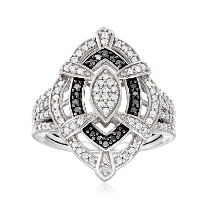 .50 ct. t.w. Black and White Diamond Marquise-Shaped Ring in Sterling Silver