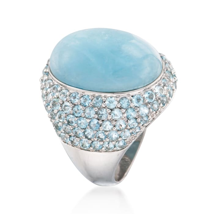 Milky Aquamarine and 4.40 ct. t.w. Sky Blue Topaz Ring in Sterling Silver