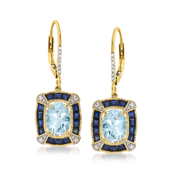 2.40 ct. t.w. Aquamarine and 1.50 ct. t.w. Sapphire Drop Earrings with .11 ct. t.w. Diamonds in 14kt Yellow Gold