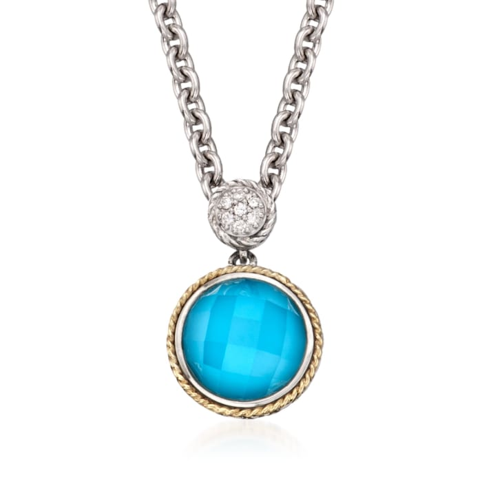 Andrea Candela Turquoise Doublet Pendant Necklace in Sterling Silver and 18kt Gold