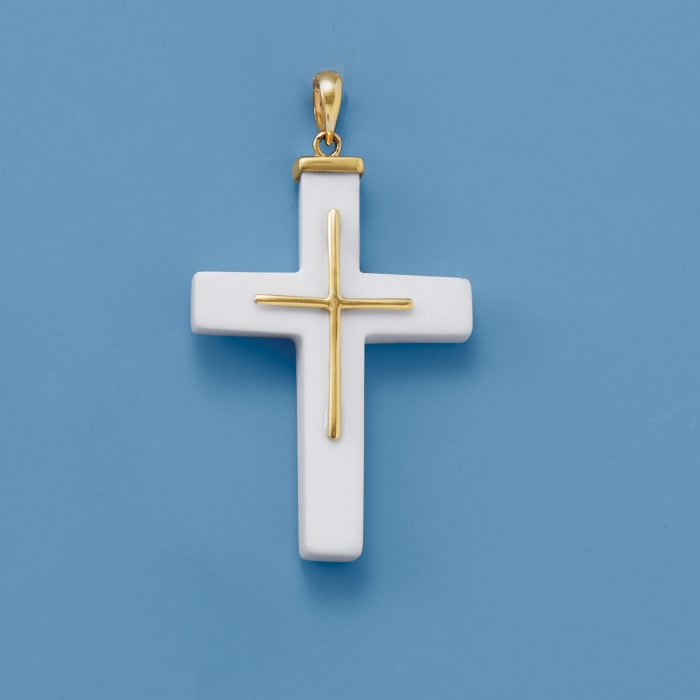 White Agate Cross Pendant with 14kt Yellow Gold