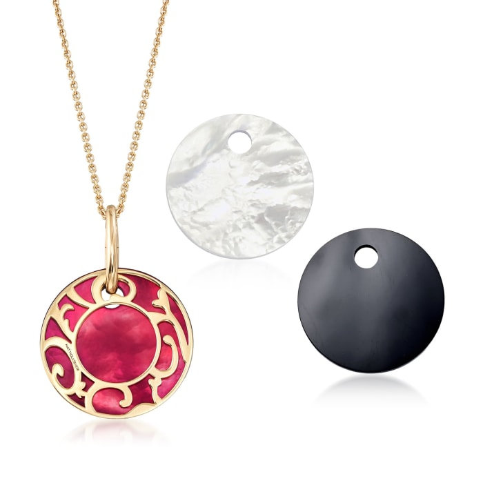 """Mattioli """"Siriana"""" 18kt Yellow Gold Pendant Necklace with Three Interchangeable Pendants: 18kt Gold and Multi-Stone"""