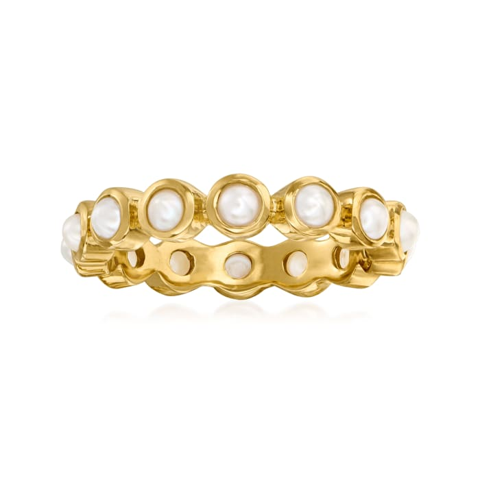 3mm Cultured Pearl Eternity Ring in 18kt Gold Over Sterling