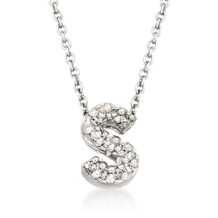 """Roberto Coin """"Love Letter"""" Diamond Accent Initial """"S"""" Necklace in 18kt White Gold"""