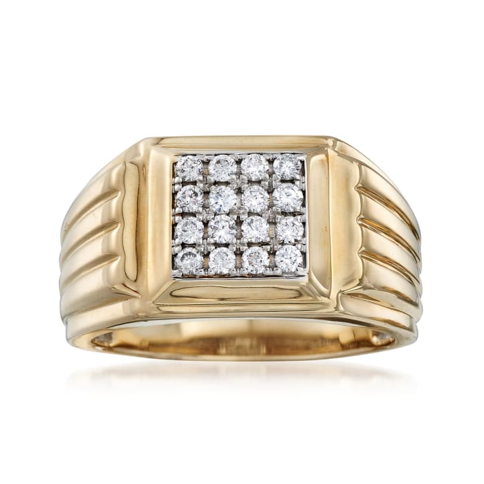Men's .50 ct. t.w. Diamond Square-Top Ring in 14kt Two-Tone Gold