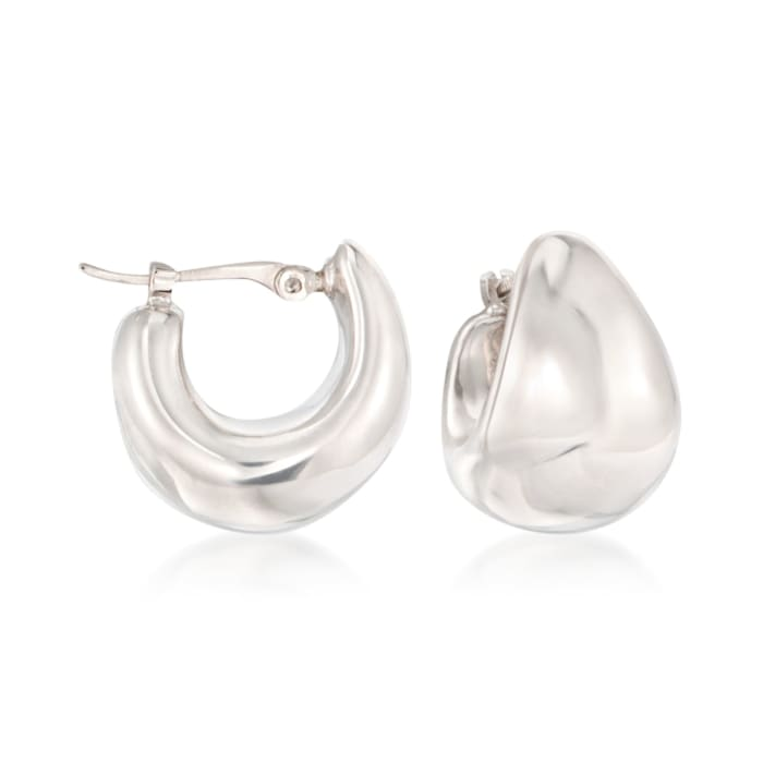 14kt White Gold Puffed Dome Hoop Earrings