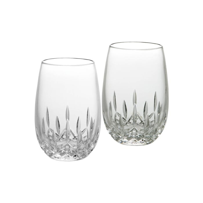 """Waterford Crystal """"Essence"""" Set of 2 Lismore Stemless Glasses for White Wine"""