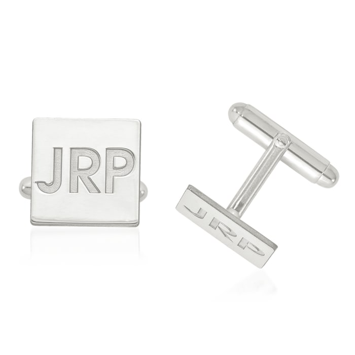 Sterling Silver Recessed Letters Square 3-Initial Cuff Links