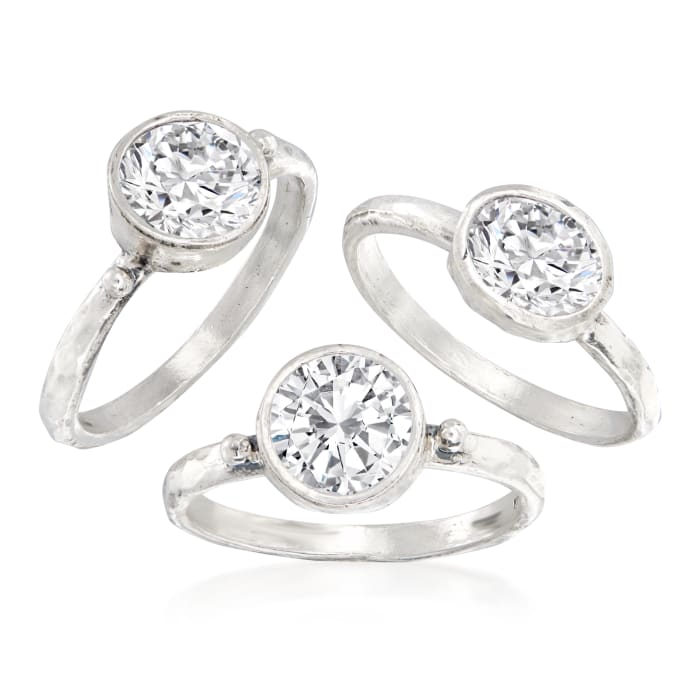 8.40 ct. t.w. CZ Jewelry Set: Three Rings in Sterling Silver