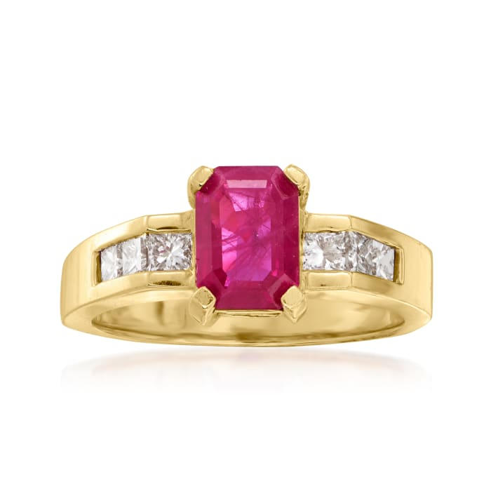 1.70 Carat Ruby and .42 ct. t.w. Diamond Ring in 14kt Yellow Gold
