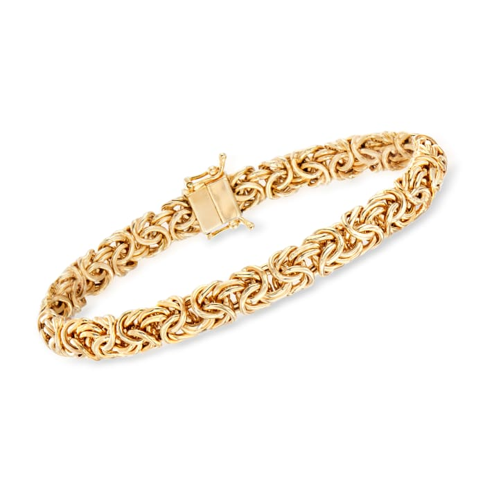 18kt Yellow Gold Over Sterling Silver Byzantine Bracelet with Magnetic Clasp