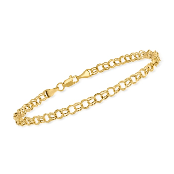 14kt Yellow Gold Double-Circle Link Bracelet