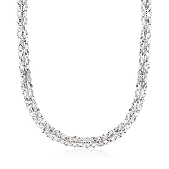 Italian Sterling Silver Mirror-Link Collar Necklace