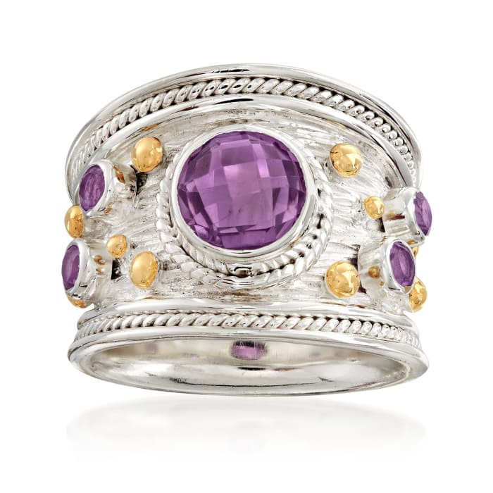 3.20 ct. t.w. Amethyst Ring in Two-Tone Sterling Silver