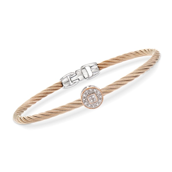 """ALOR """"Shades of Alor"""" Carnation Stainless Steel Cable Bracelet with Diamond-Accented Station in 18kt White and Rose Gold"""