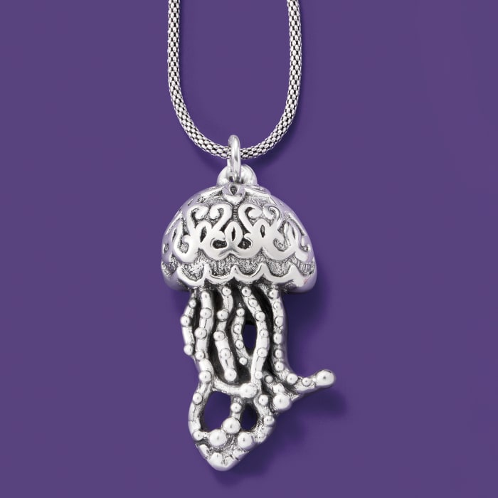 Sterling Silver Jellyfish Pendant Necklace