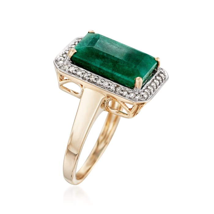 5.50 Carat Emerald and .20 ct. t.w. Diamond Ring in 14kt Yellow Gold