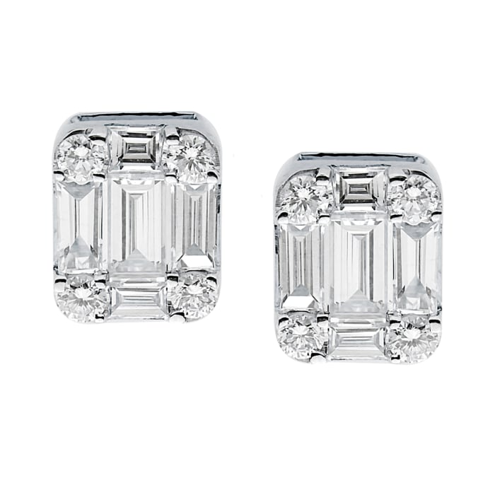 .64 ct. t.w. Baguette and Round Diamond Cluster Earrings in 18kt White Gold