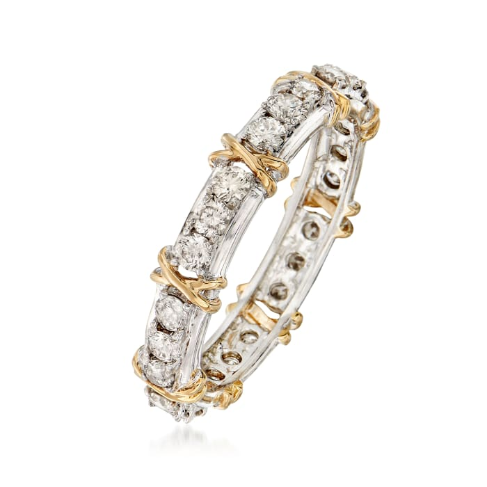 1.00 ct. t.w. Diamond X Eternity Band in Sterling and 14kt Gold