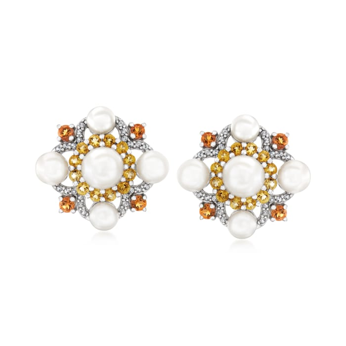 4.5-7mm Cultured Pearl, 1.10 ct. t.w. Citrine and .20 ct. t.w. White Topaz Earrings in Sterling Silver