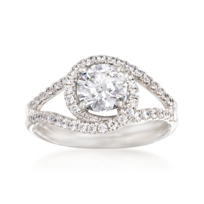 Simon G. .35 ct. t.w. Diamond Halo Engagement Ring Setting in 18kt White Gold
