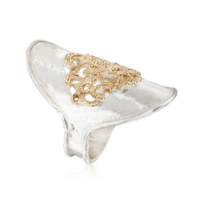 Sterling Silver and 14kt Yellow Gold Filigree Center Ring