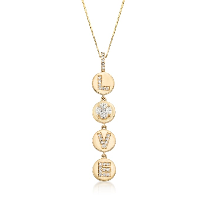 """.56 ct. t.w. Diamond """"Love"""" Circle Disc Pendant Necklace in 14kt Yellow Gold"""