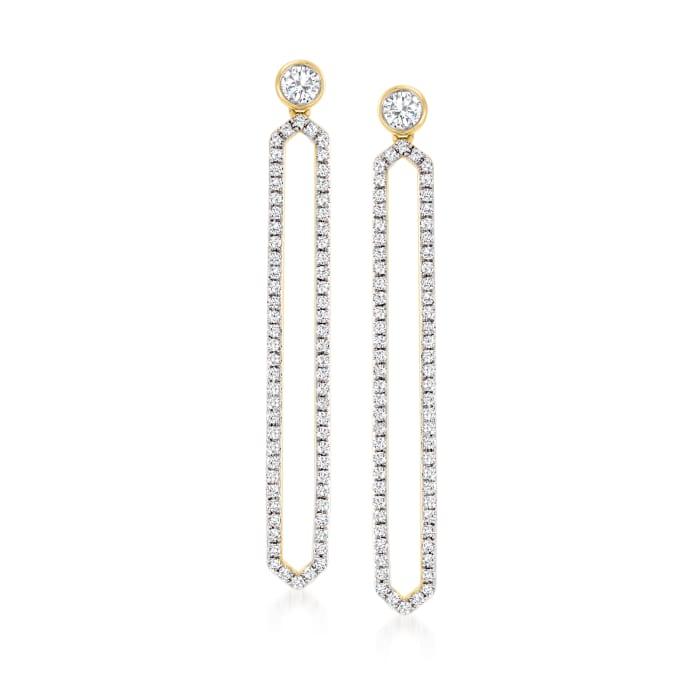.50 ct. t.w. Diamond Geometric Drop Earrings in 14kt Yellow Gold