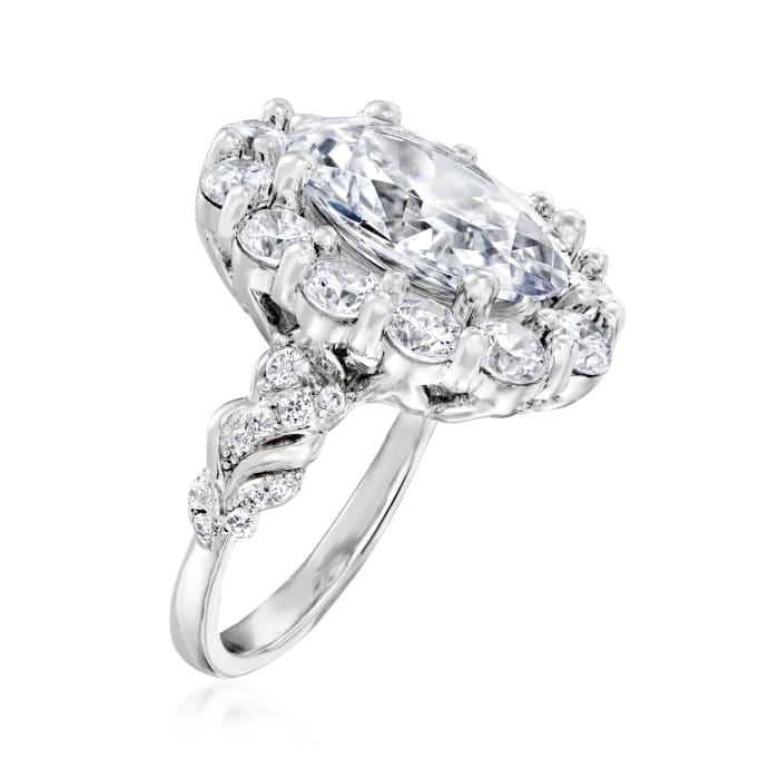 8.60 ct. t.w. CZ Halo Ring in Sterling Silver