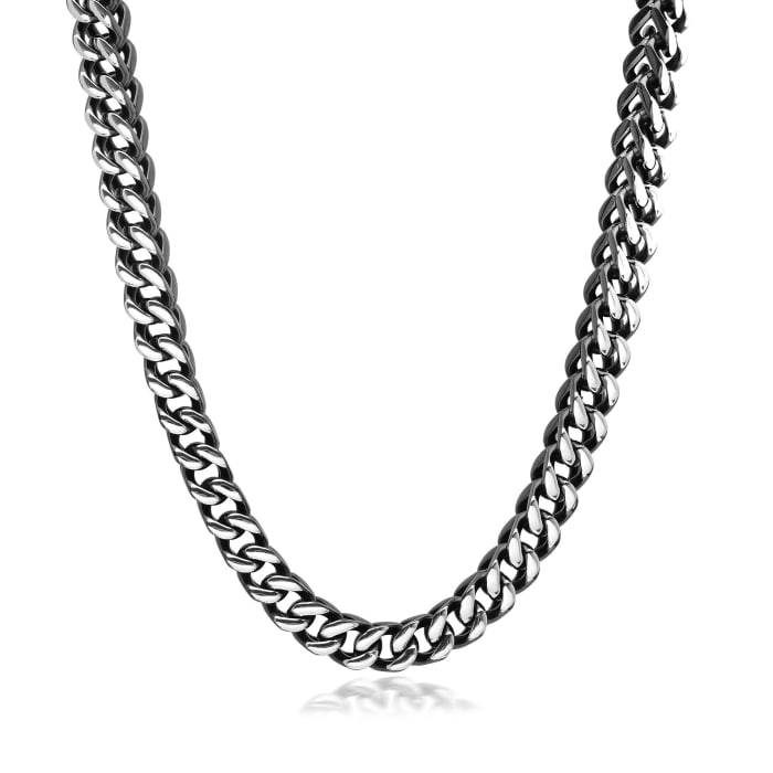 Men's Black Stainless Steel Jewelry Set: Foxtail Link Necklace and Bracelet