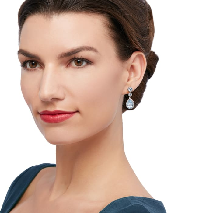 8.00 ct. t.w. Blue Topaz and 1.40 ct. t.w. White Topaz Drop Earrings in Sterling Silver