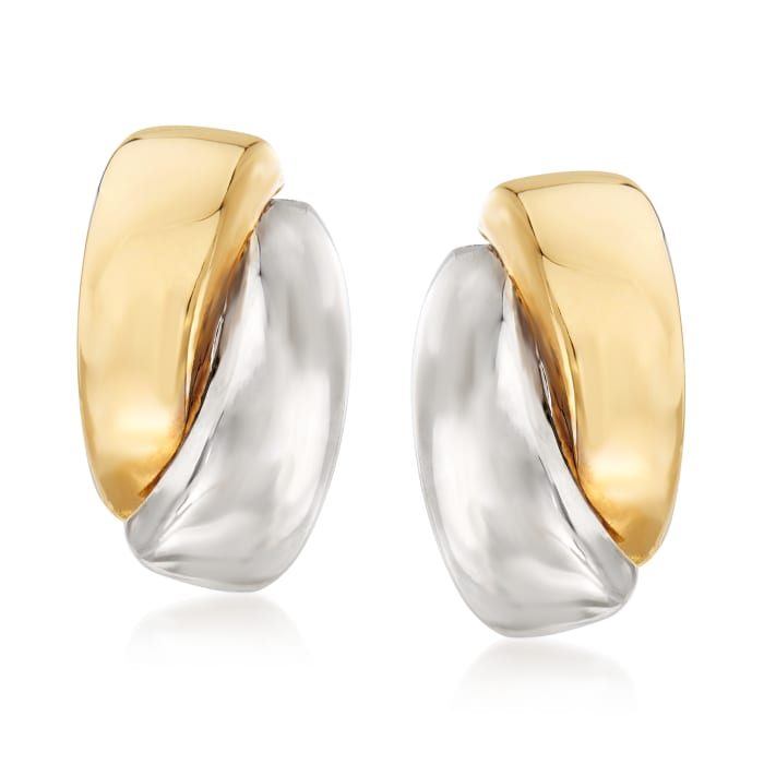 14kt Two-Tone Gold Curved Earrings