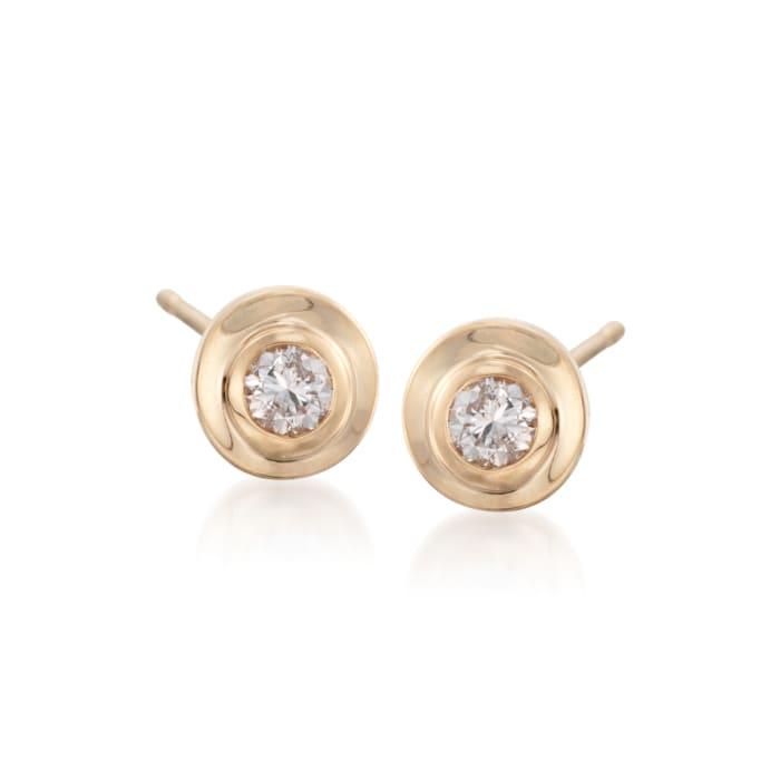 .25 ct. t.w. Diamond Bezel-Set Stud Earrings in 14kt Yellow Gold