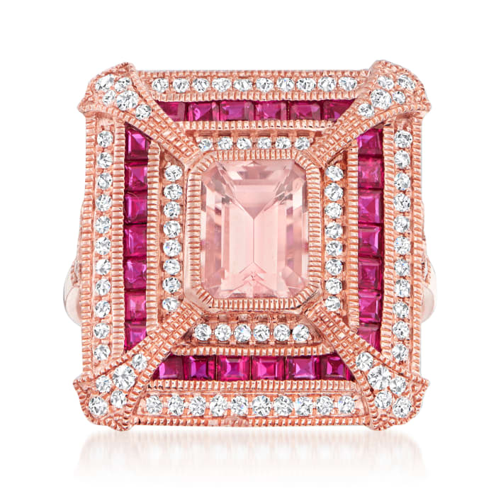 2.80 ct. t.w. Multi-Gemstone and .46 ct. t.w. Diamond Ring in 14kt Rose Gold