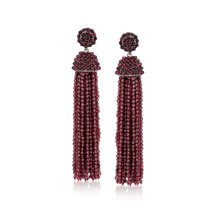 Garnet Bead Tassel Drop Earrings in Sterling Silver