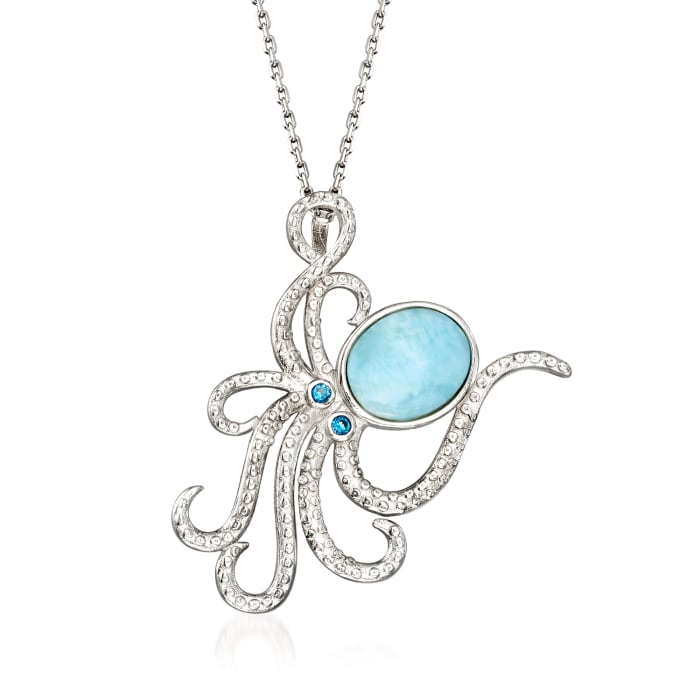Larimar Octopus Pendant Necklace in Sterling Silver with CZ Accents