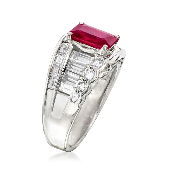C. 1980 Vintage 1.70 Carat Ruby and 1.53 ct. t.w. Diamond Ring in Platinum