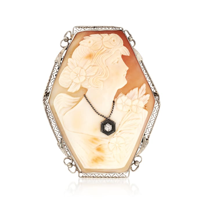 C. 1950 Vintage Pink Shell Cameo Pin Pendant with Diamond Accent