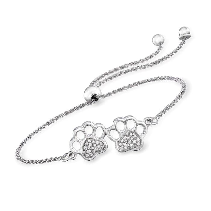 .15 ct. t.w. Diamond Paw Print Bolo Bracelet in Sterling Silver