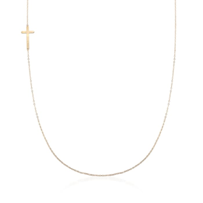 Italian 18kt Yellow Gold Vertical Cross Necklace