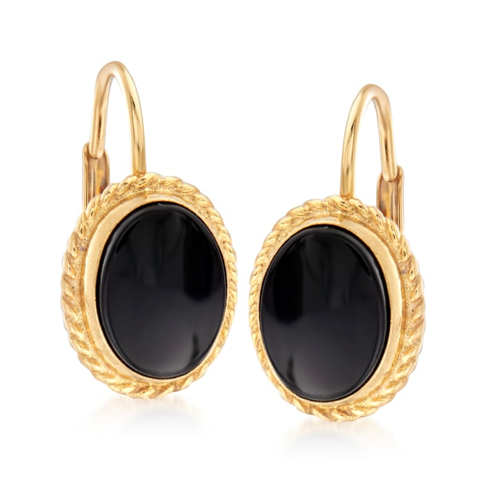 8x6mm Black Onyx Drop Earrings in 14kt Yellow Gold