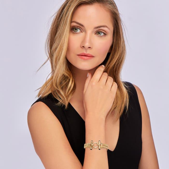 18kt Gold Over Sterling Wheat-Link Bracelet with Black Onyx