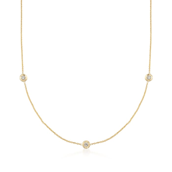 Roberto Coin .15 ct. t.w. Diamond Station Necklace in 18kt Yellow Gold